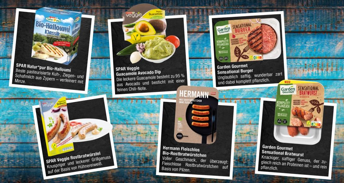 Verschiedene köstliche Produkte bei Maximarkt, die sich bestens zum Grillen eignen.