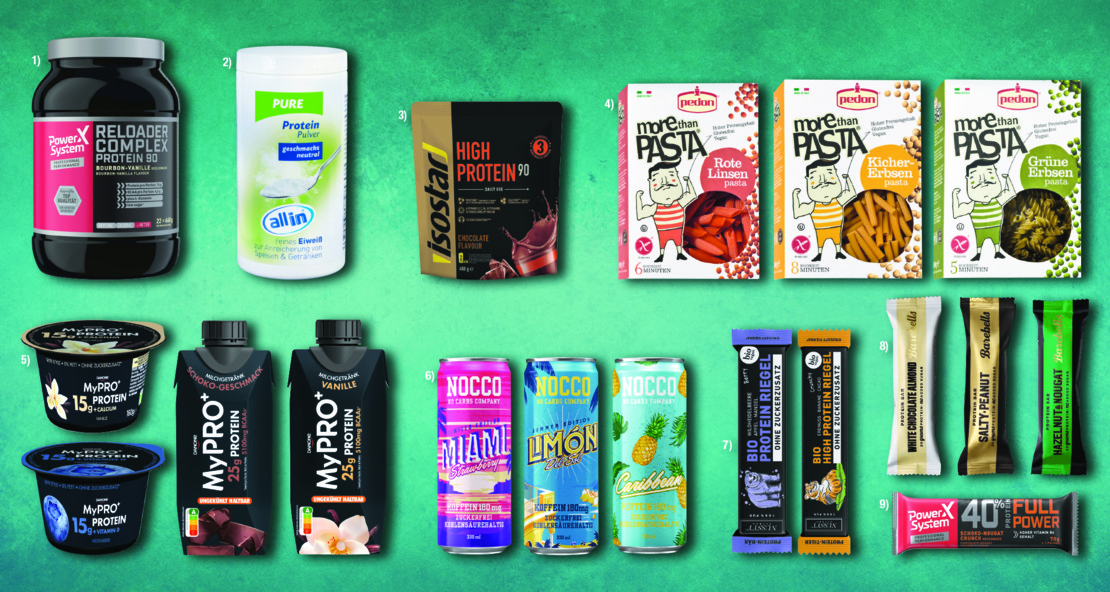 Verschiedenste proteinreiche Sportlerprodukte bei Maximarkt.