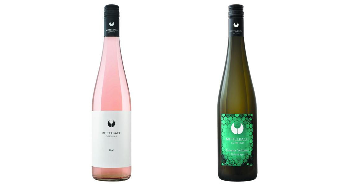 Roséweine und der Grüne Veltliner Kaiserstiege vom Weingut Mittelbach.