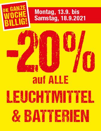20 % auf alle Leuchtmittel & Batterien