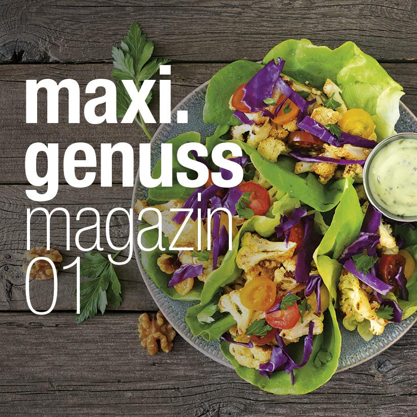 Die Titelseite des maxi.genussmagazins.